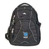 High Sierra Swerve Black Compu Backpack-Stacked Shield/Phi Delta Theta Symbols