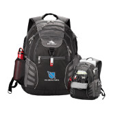 High Sierra Big Wig Black Compu Backpack-Stacked Shield/Phi Delta Theta