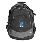 High Sierra Black Titan Day Pack-Stacked Shield/Phi Delta Theta Symbols