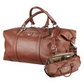 Cutter & Buck Brown Leather Weekender Duffel-PHP Debossed