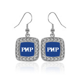 Crystal Studded Square Pendant Silver Dangle Earrings-PHP