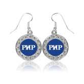 Crystal Studded Round Pendant Silver Dangle Earrings-PHP