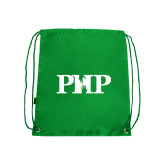 Nylon Kelly Green Drawstring Backpack-PHP