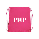 Nylon Pink Drawstring Backpack-PHP