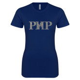 Next Level Ladies SoftStyle Junior Fitted Navy Tee-PHP Silver Soft Glitter
