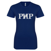 Next Level Ladies SoftStyle Junior Fitted Navy Tee-PHP White Soft Glitter