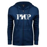 ENZA Ladies Navy Fleece Full Zip Hoodie-PHP