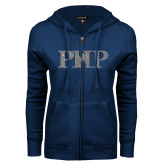 ENZA Ladies Navy Fleece Full Zip Hoodie-PHP Silver Soft Glitter