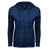 ENZA Ladies Navy Fleece Full Zip Hoodie-PHP Dark Blue Glitter