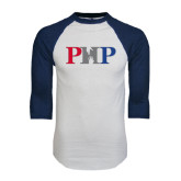 White/Navy Raglan Baseball T-Shirt-PHP
