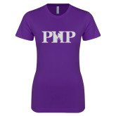 Next Level Ladies SoftStyle Junior Fitted Purple Tee-PHP White Soft Glitter