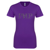 Next Level Ladies SoftStyle Junior Fitted Purple Tee-PHP Purple Glitter