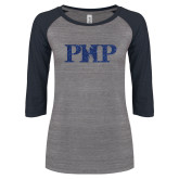 ENZA Ladies Athletic Heather/Navy Vintage Triblend Baseball Tee-PHP Dark Blue Glitter