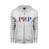 ENZA Ladies White Fleece Full Zip Hoodie-PHP