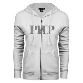 ENZA Ladies White Fleece Full Zip Hoodie-PHP Silver Soft Glitter