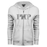 ENZA Ladies White Fleece Full Zip Hoodie-PHP Silver Soft Glitter