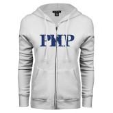 ENZA Ladies White Fleece Full Zip Hoodie-PHP Dark Blue Glitter