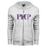 ENZA Ladies White Fleece Full Zip Hoodie-PHP Purple Glitter
