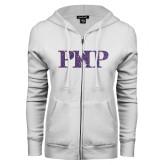 ENZA Ladies White Fleece Full Zip Hoodie-PHP Purple Glitter