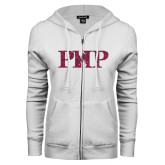 ENZA Ladies White Fleece Full Zip Hoodie-PHP Hot Pink Glitter