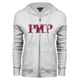 ENZA Ladies White Fleece Full Zip Hoodie-PHP Hot Pink Glitter