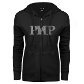 ENZA Ladies Black Fleece Full Zip Hoodie-PHP Silver Soft Glitter