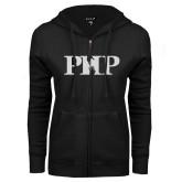 ENZA Ladies Black Fleece Full Zip Hoodie-PHP White Soft Glitter