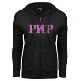 ENZA Ladies Black Fleece Full Zip Hoodie-PHP Lilac Soft Glitter