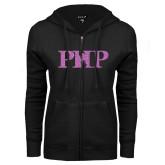 ENZA Ladies Black Fleece Full Zip Hoodie-PHP Lilac Soft Glitter