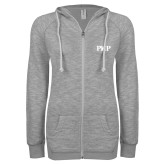 ENZA Ladies Grey/Black Marled Full Zip Hoodie-PHP