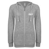 ENZA Ladies Grey/Black Marled Full Zip Hoodie-PHP