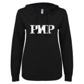 ENZA Ladies Black V Notch Raw Edge Fleece Hoodie-PHP