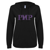 ENZA Ladies Black V Notch Raw Edge Fleece Hoodie-PHP Purple Glitter