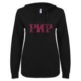 ENZA Ladies Black V Notch Raw Edge Fleece Hoodie-PHP Hot Pink Glitter