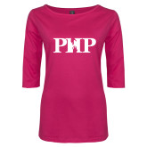 Ladies Dark Fuchsia Perfect Weight 3/4 Sleeve Tee-PHP