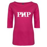 Ladies Dark Fuchsia Perfect Weight 3/4 Sleeve Tee-PHP