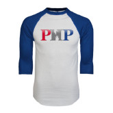 White/Royal Raglan Baseball T Shirt-PHP