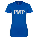 Next Level Ladies SoftStyle Junior Fitted Royal Tee-PHP White Soft Glitter