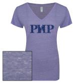 ENZA Ladies Surfer Blue Melange V Neck Tee-PHP Dark Blue Glitter