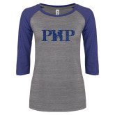 ENZA Ladies Athletic Heather/Blue Vintage Baseball Tee-PHP Dark Blue Glitter