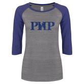 ENZA Ladies Athletic Heather/Blue Vintage Baseball Tee-PHP Dark Blue Glitter