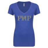 Next Level Ladies Vintage Royal Tri Blend V-Neck Tee-PHP Silver Soft Glitter