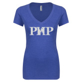 Next Level Ladies Vintage Royal Tri Blend V-Neck Tee-PHP White Soft Glitter