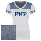 Ladies White/Heathered Deep Royal Juniors Varsity V Neck Tee-PHP Foil