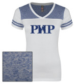 Ladies White/Heathered Deep Royal Juniors Varsity V Neck Tee-PHP Dark Blue Glitter