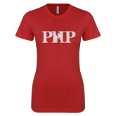 Next Level Ladies SoftStyle Junior Fitted Red Tee-PHP White Soft Glitter