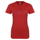 Next Level Ladies SoftStyle Junior Fitted Red Tee-PHP Red Glitter