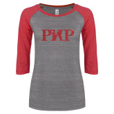 ENZA Ladies Athletic Heather/Red Vintage Triblend Baseball Tee-PHP Red Glitter