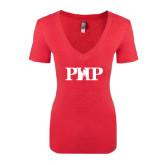 Next Level Ladies Vintage Red Tri Blend V-Neck Tee-PHP