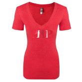 Next Level Ladies Vintage Red Tri Blend V-Neck Tee-PHP Foil